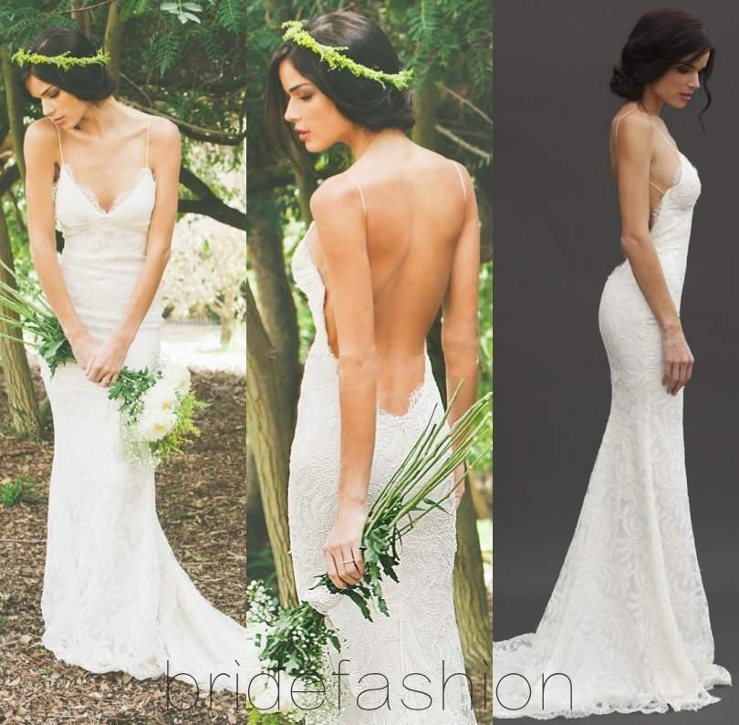 2015 new sexy backless wedding dresses katie may lace spaghetti sheath garden beach sheer summer bridal party gowns custom made see through lace wedding
