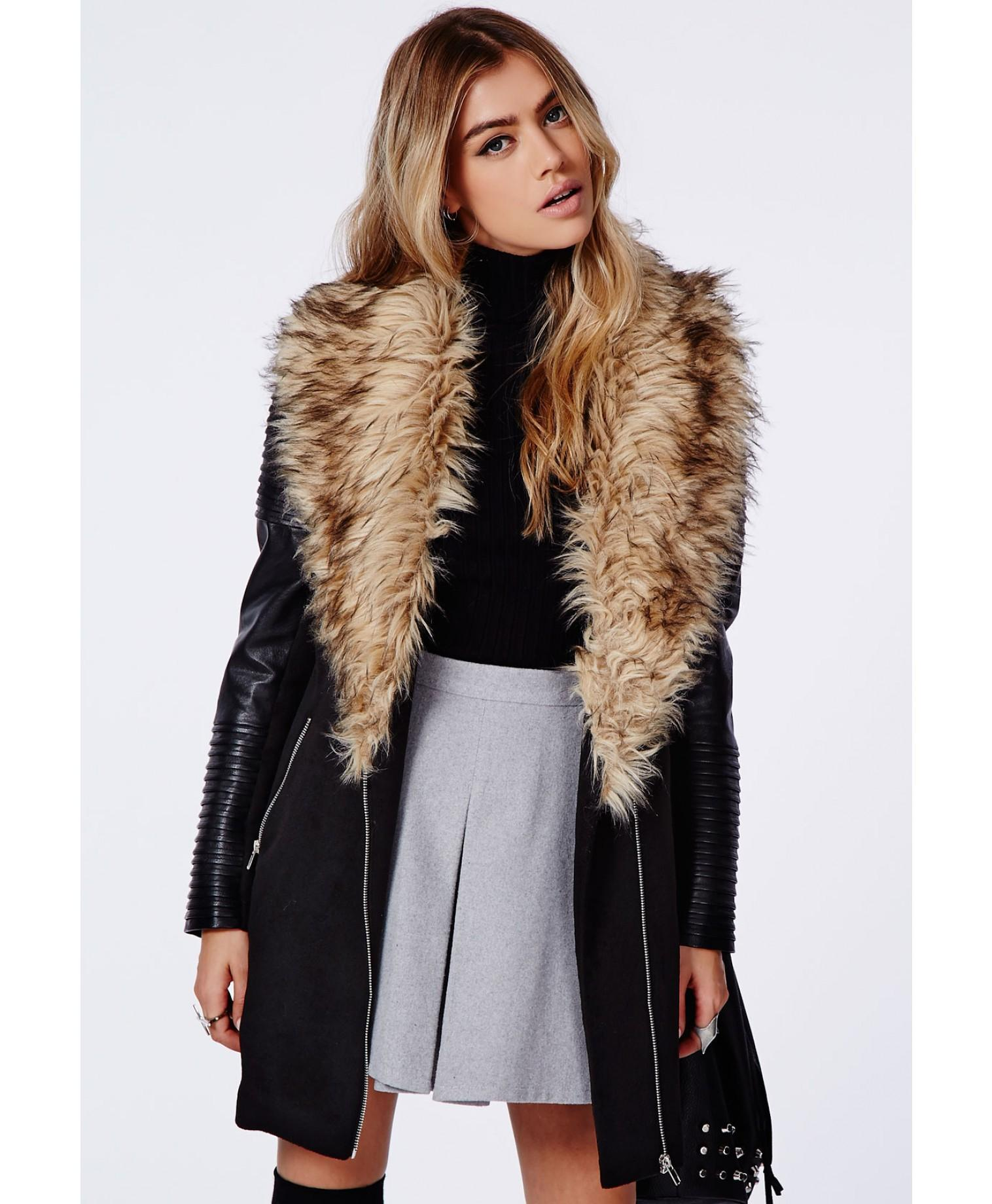 Winter Coat Leather Sleeves | Down Coat