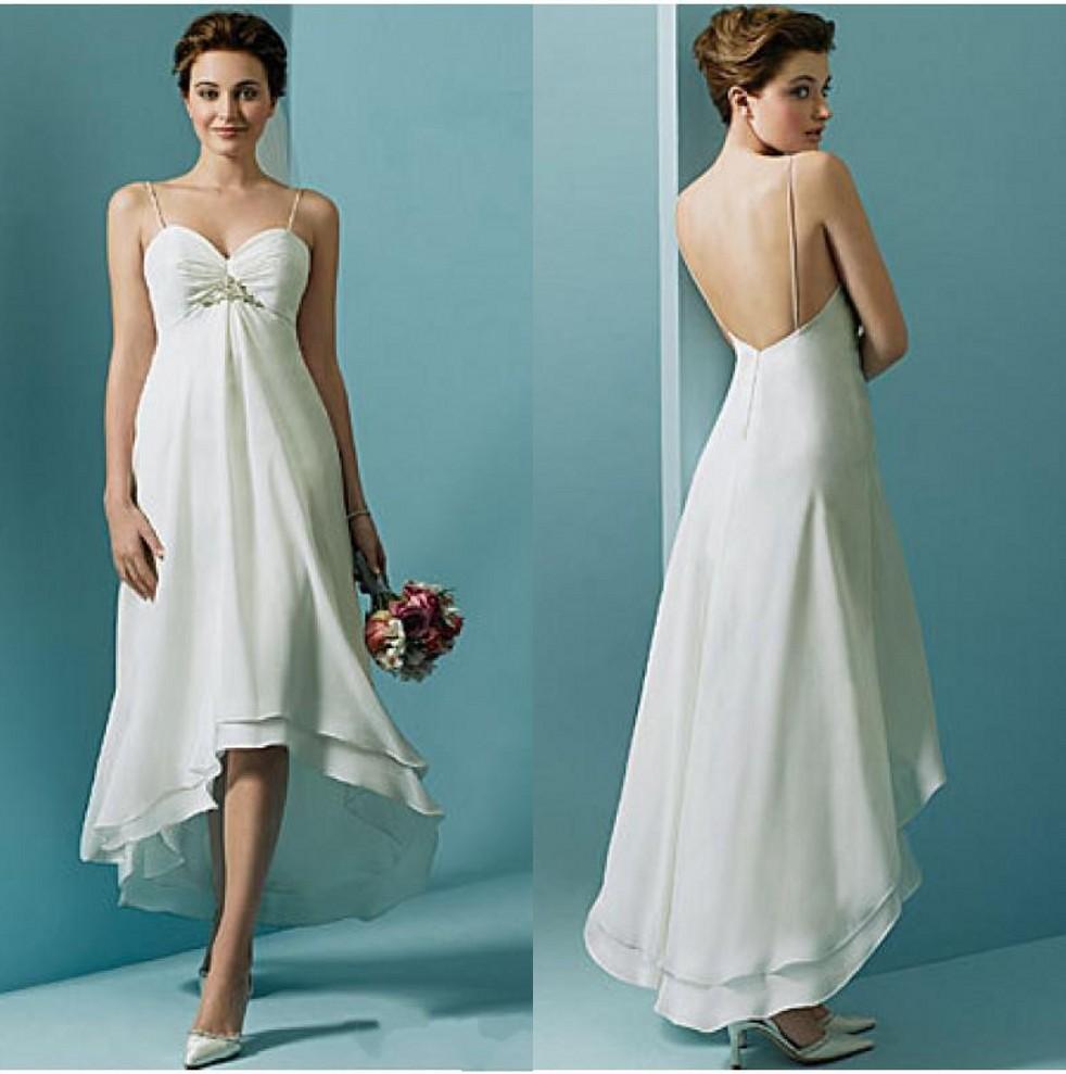 Hi lo beach wedding gowns 2016 maternity gown spaghetti for Hi lo wedding dress