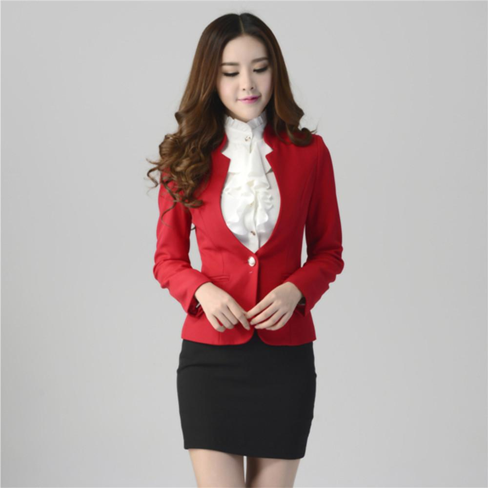 2018 2016 New Formal Women Suit With Skirt Pant Shirt For Office Ladies Business Suit Red Black ...