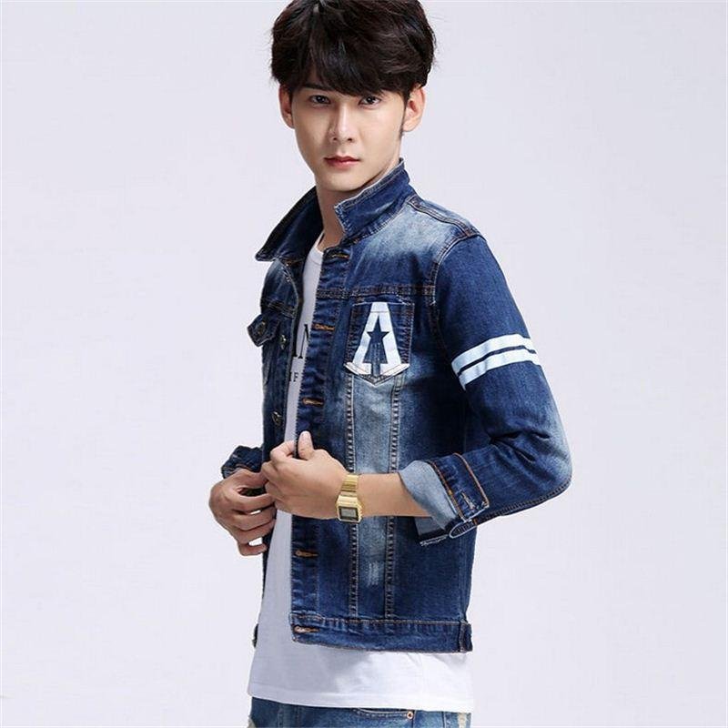 New Men'S Stylish Denim Jacket Coat Casual Mens Plus Size Cotton ...