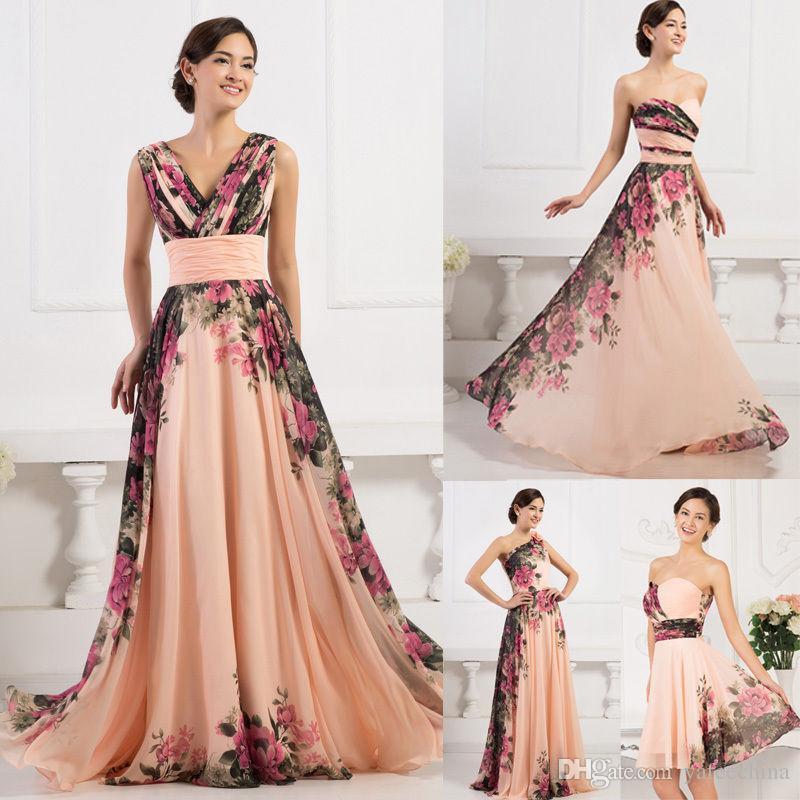 grace karin floral chiffon dress long short bridesmaid dress wedding evening dress semi formal. Black Bedroom Furniture Sets. Home Design Ideas