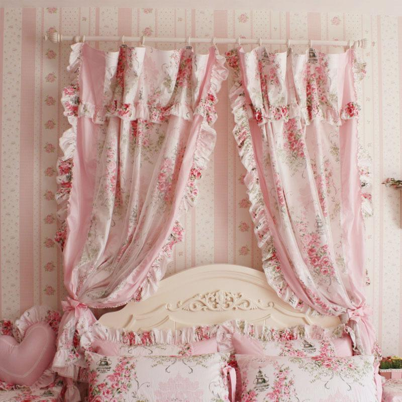 wholesale korean style princess pink rose ruffle curtain window, Bedroom decor
