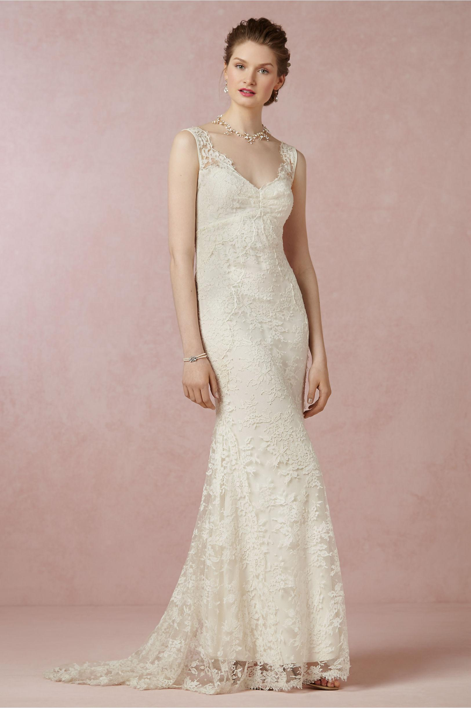 Bhldn 2015 Beach Wedding Dresses Sheath Lace Backless