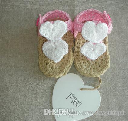 Оптом - Любовь шаблон детские босоножки сандалии. Симпатичные лук крючком обувь. Ручной вязки шерсть малыша обувь. Шлепанцы пляжные сандалии 9pair / 18шт