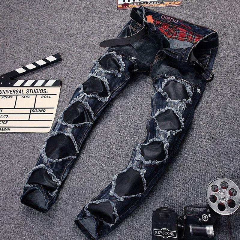 Best Mens Denim Ripped Jeans Leather Patch Famous Brand Designer ...