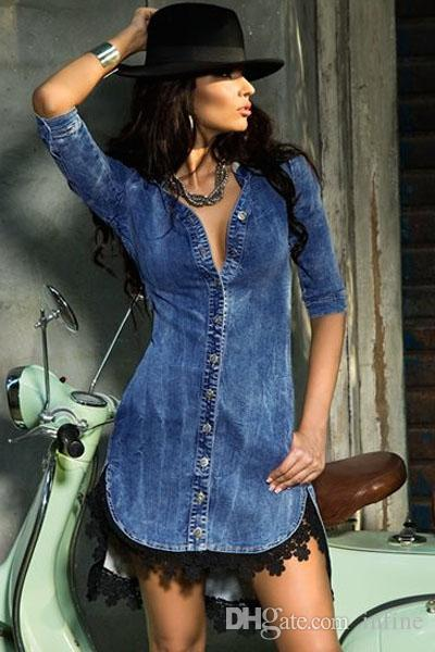 Half denim dress