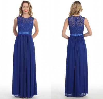Bridesmaid Dresses Royal Blue Lace Chiffon Sleeveless Dress Floor ...