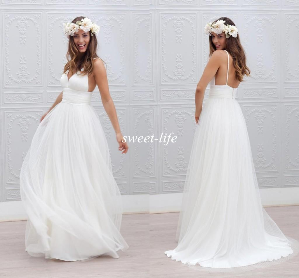 2016 Boho Summer Beach Wedding Dresses Simple Backless Spaghetti Straps Tulle A Line Floor