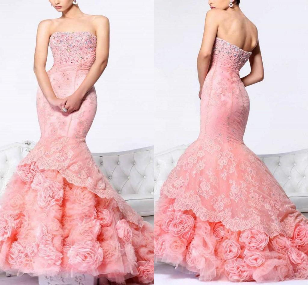 Pink Mermaid Wedding Dresses With Appliques Beaded 2016