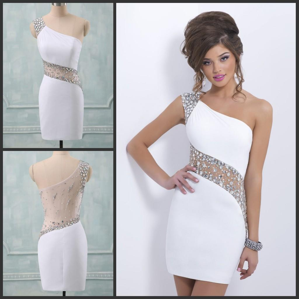 Sexy Backless Homecoming Dresses One Shoulder Straight White Short ...