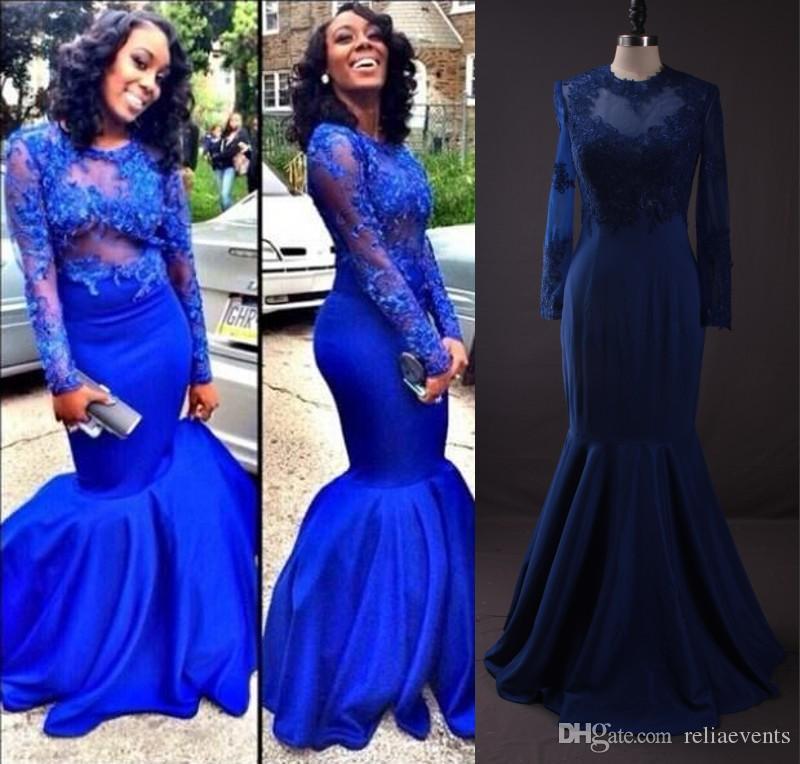 Royal Blue Mermaid Prom Dresses Long Sleeve Lace Appliques Trumpet ...