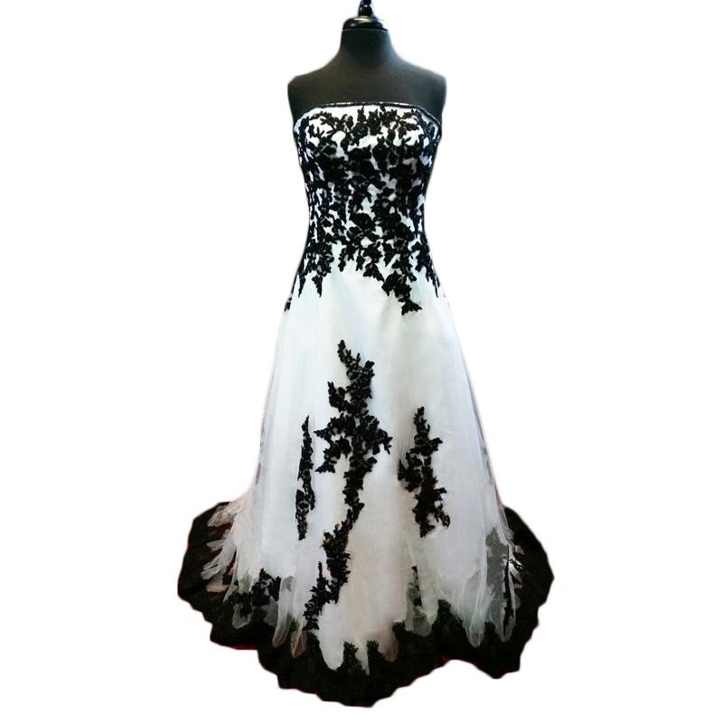2015 Modest White And Black Wedding Dresses Lace Appliques Plus Size Strapless Tulle Wedding