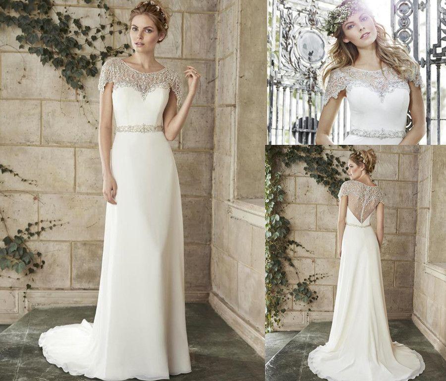 Hot sale bohemian wedding dress 2015 with scoop neck short for Bohemian wedding dress for sale