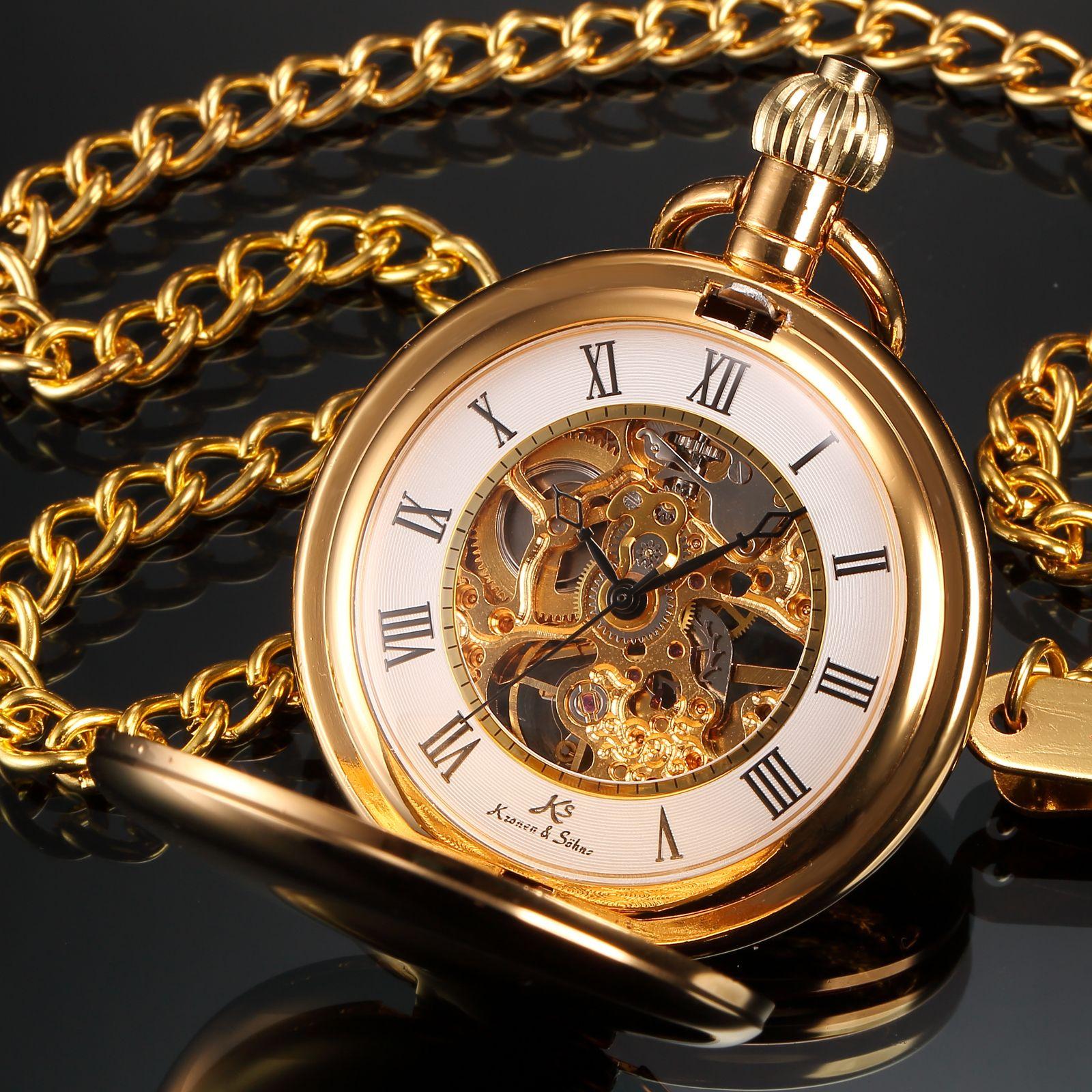 ks pocket watch golden best luxury watch r numbers golden ks pocket watch golden best luxury watch r numbers golden alloy case mechanical handwinding men s pocket