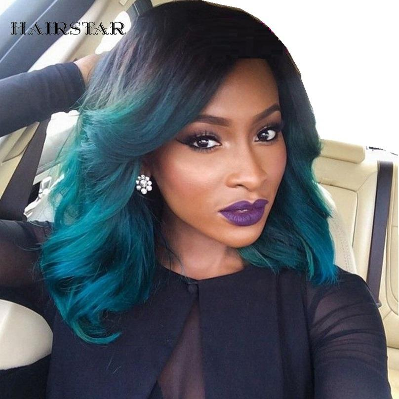 lace wig ombre blue green short wigs dark root 1b blue colored synthetic front lace wig - Colored Wig