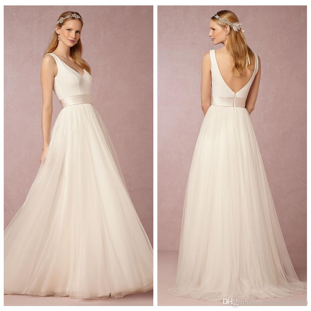Simple casual wedding dresses long a line v neckline beach for Simple casual wedding dresses
