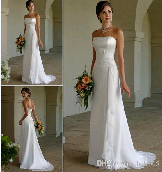 Discount 2016 Ready To Wear Modest A Line Wedding Dresses Strappless With Lace Applique And Open