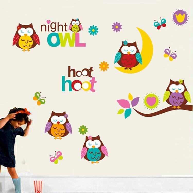 Cute Owls On MoonTree Branch Wall Art Mural Decor Kids Babies Children Room  Nursery Wall Decoration Decal Owls Night Wall Quote Sticker Cute Owls On  Moon ... Part 50