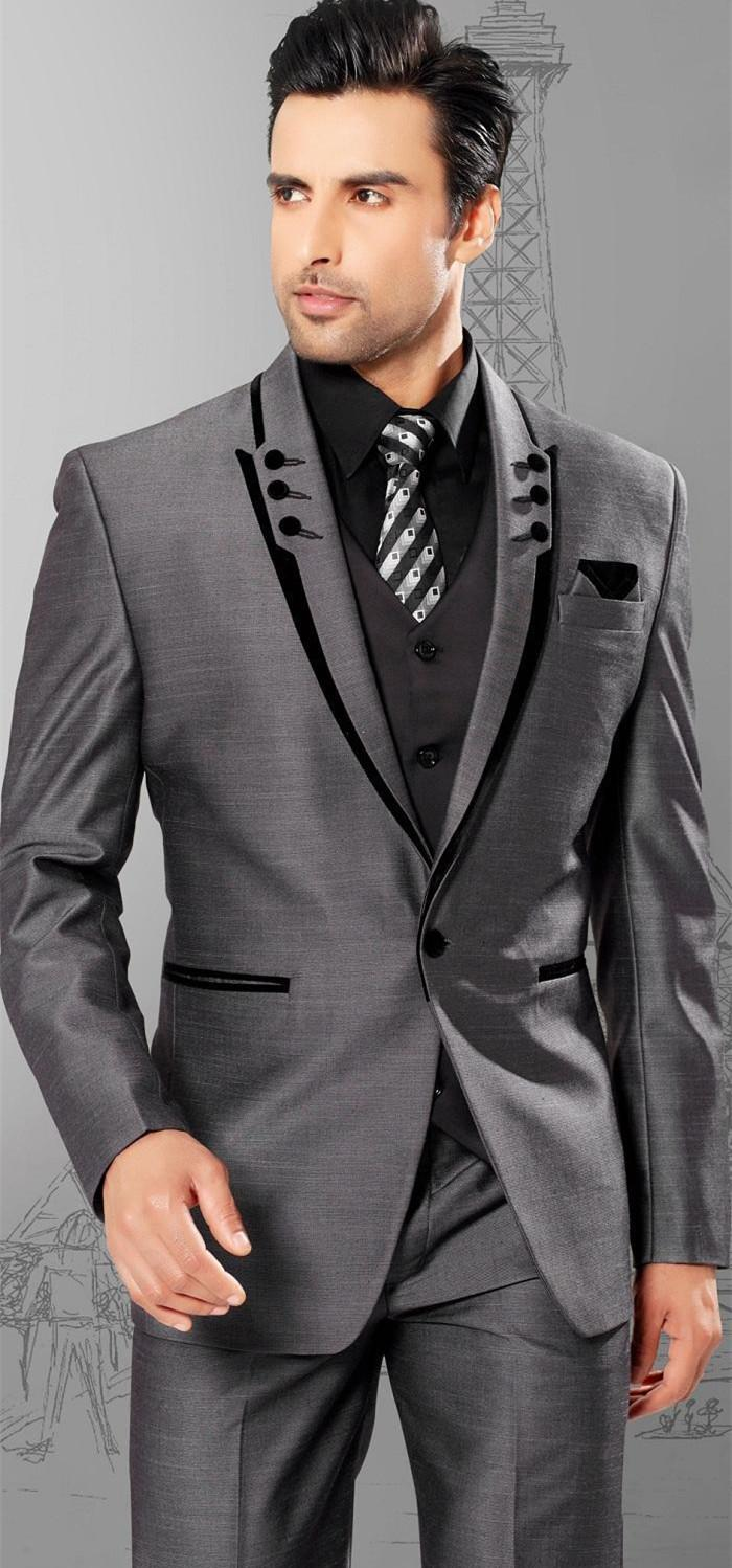 Slim Fit Dark Grey Wedding Suits For Men 2015 Peaked Lapel Men