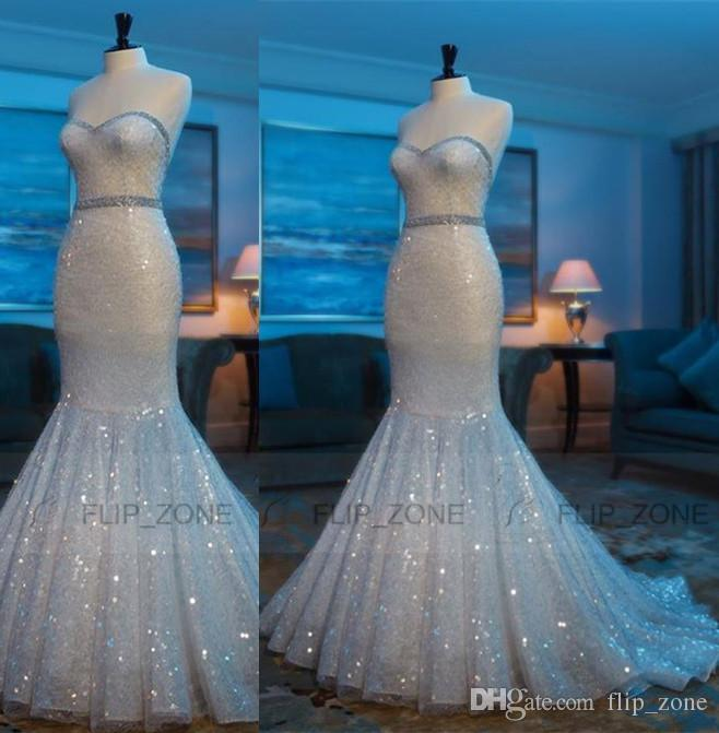 Bling white sequins 2015 plus size mermaid wedding dresses for Bling plus size wedding dresses