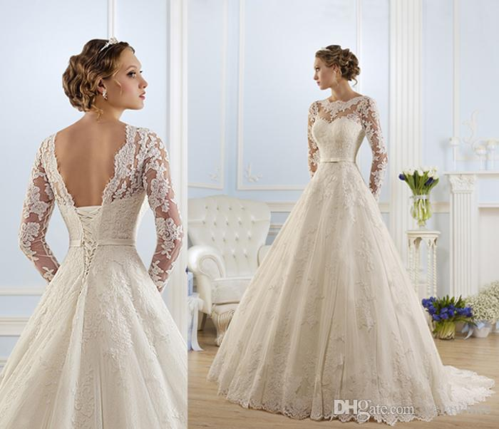 Modest A-Line Wedding Dresses Bateau Neck Ivory Lace Long Sleeves ...