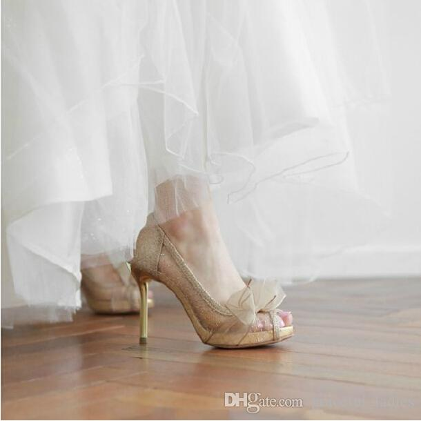 Champagne wedding dress shoes
