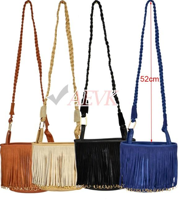 New! Women Handbag Ladies Woven Shoulder Strap Tassel Shoulder Bag ...