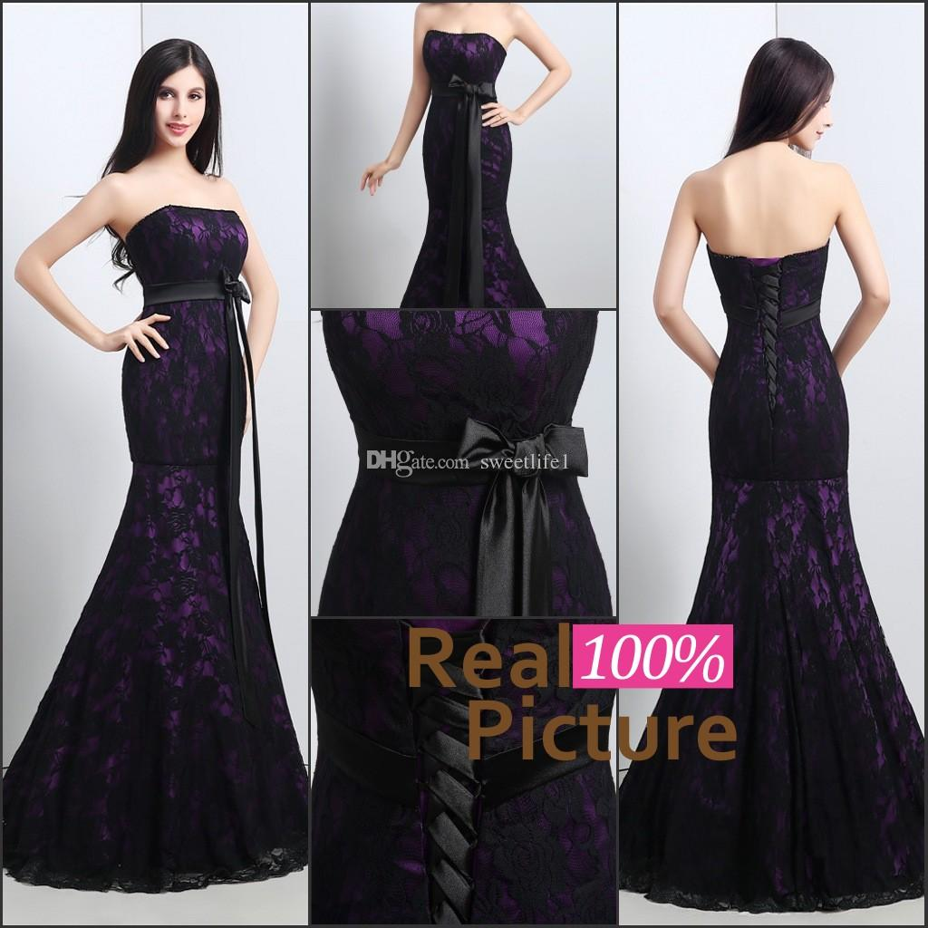 ful Mermaid Wedding Gowns Black And Purple Lace Wedding Dress ...