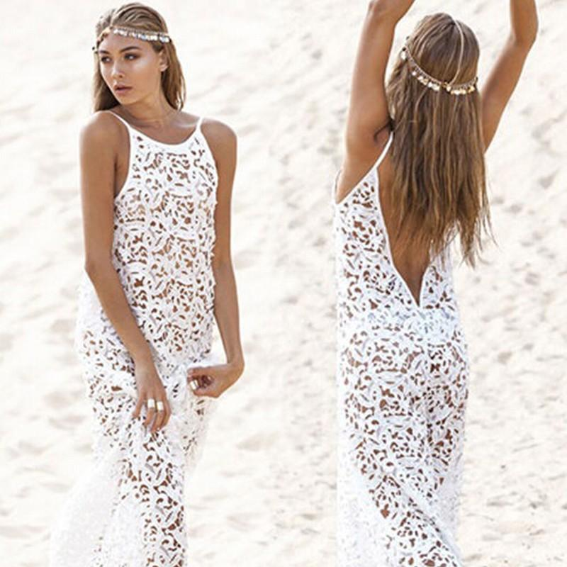 Hot Sale Maxi Dress Sexy Womens Summer Lace Dress White Boho Long ...