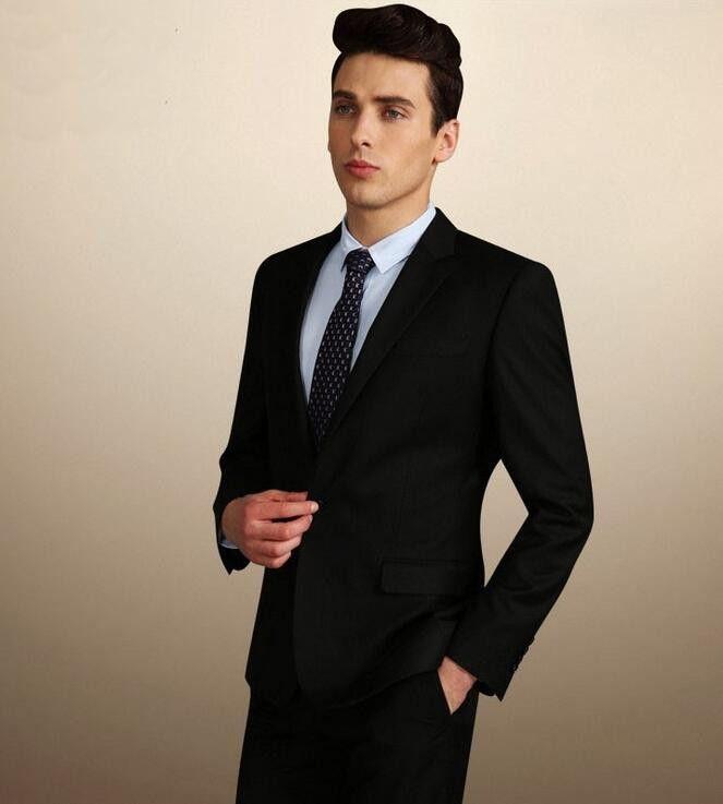 High Quality Groom Black Tuxedo 2015 Shiny Suits For Men Wedding ...