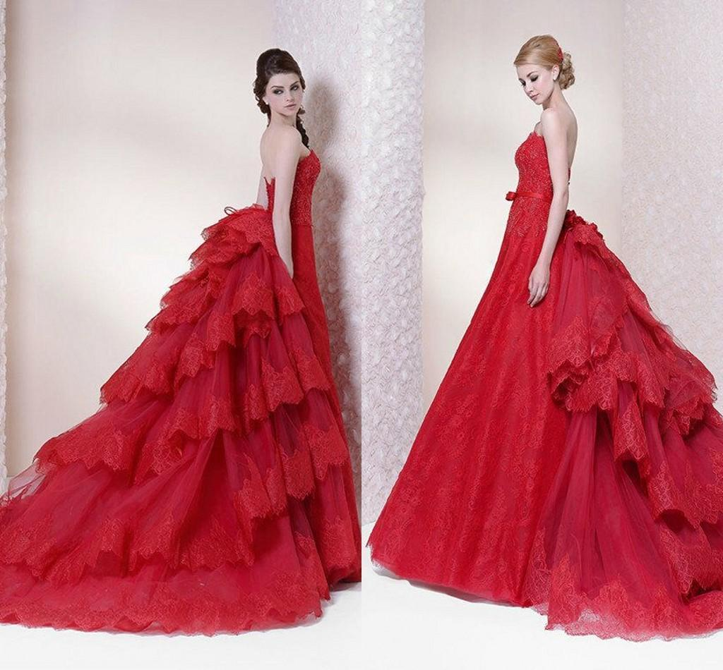 Red Lace Ball Gown Wedding Dresses 2016 Applique