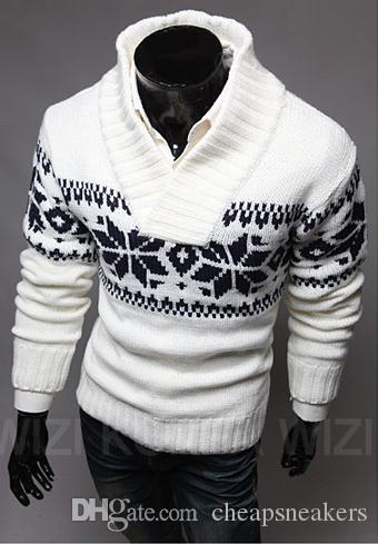 2016 mens Lapel sweater V-neck pullover sweater wnter or spring sweater knit sweater for Christmas snow