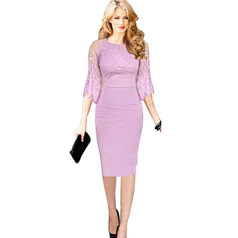 Light Purple Women Plus Size Dress Half Sleeve Pencil Style Formal ...