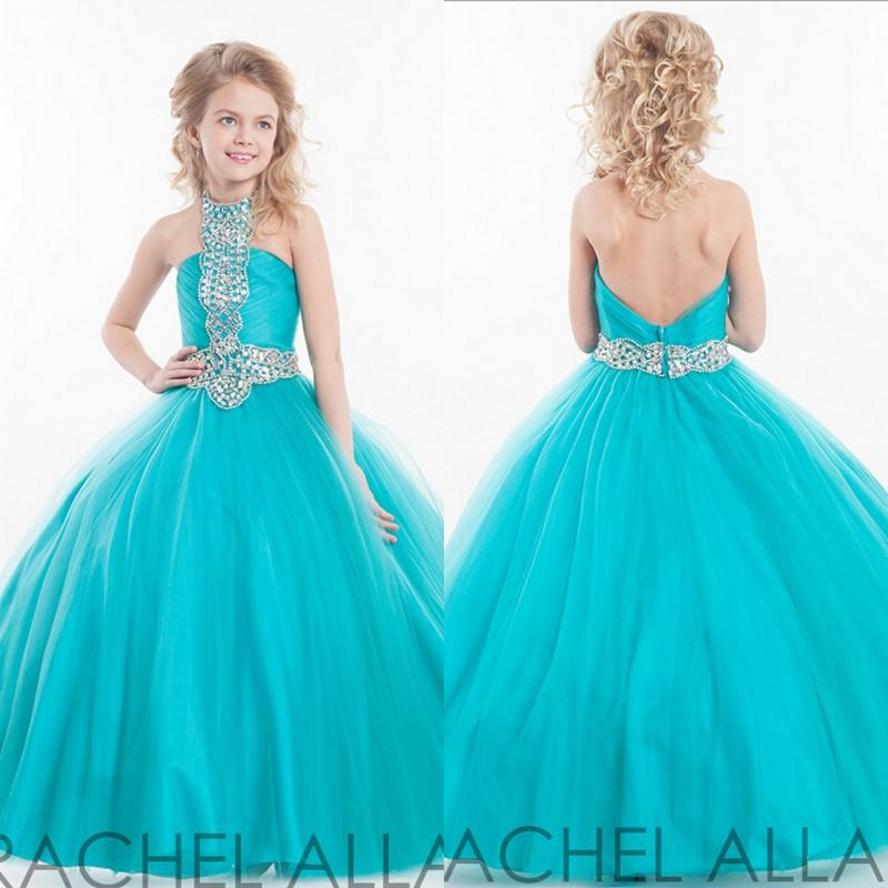 Princess Ball Gown Pageant Gowns for Teens High Neck Backless ...