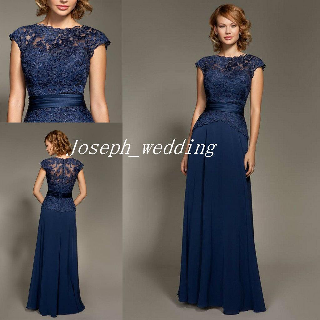 Mark Lesley Dark Navy Blue Bridesmaid Dress Lace Chiffon Cheap ...