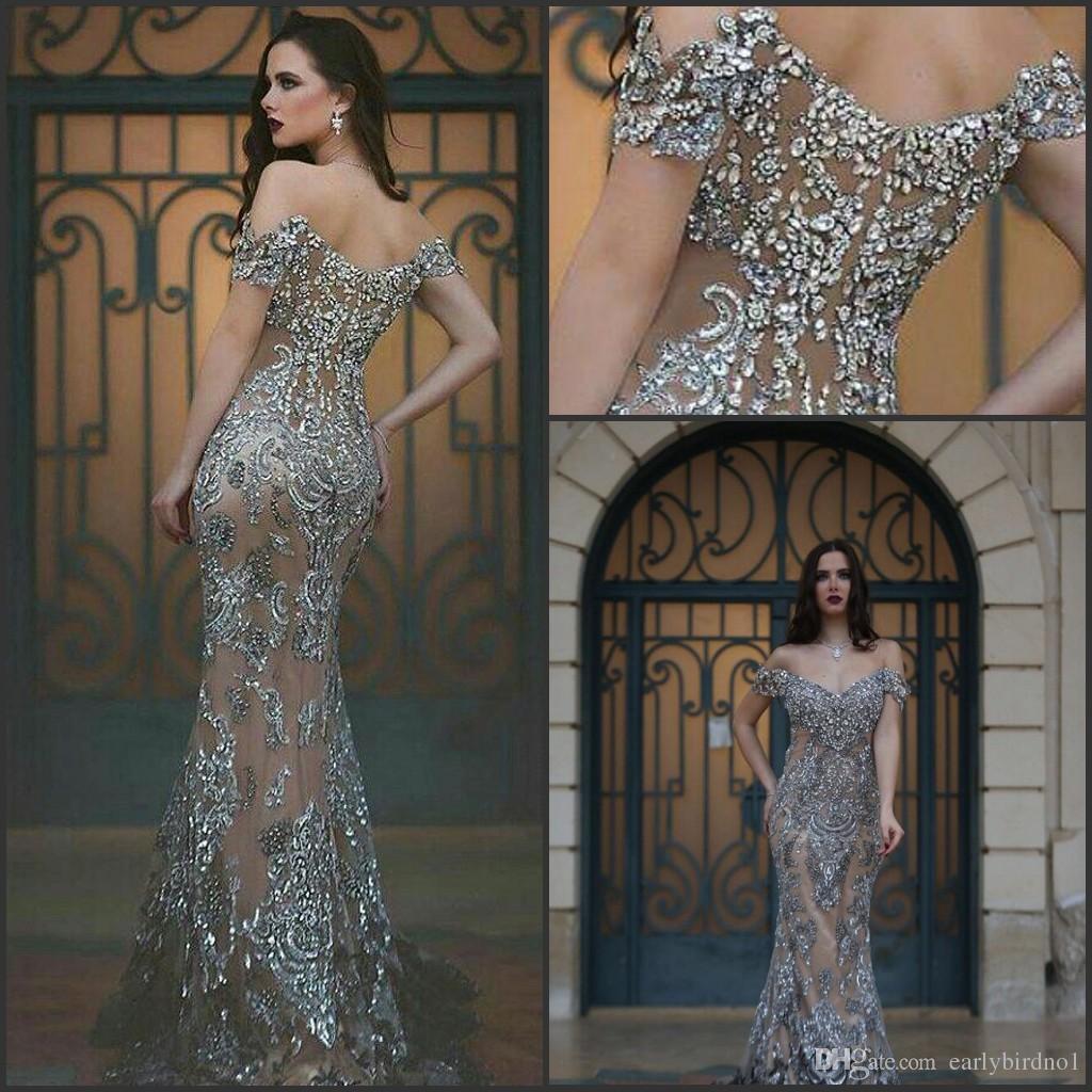 Wedding Amazing Prom Dresses 2016 amazing prom dresses off the shoulder illusion back major beading sweep train gray formal long