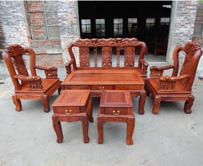 Mahogany Furniture Wood Carving Sofa Table Combination Peach