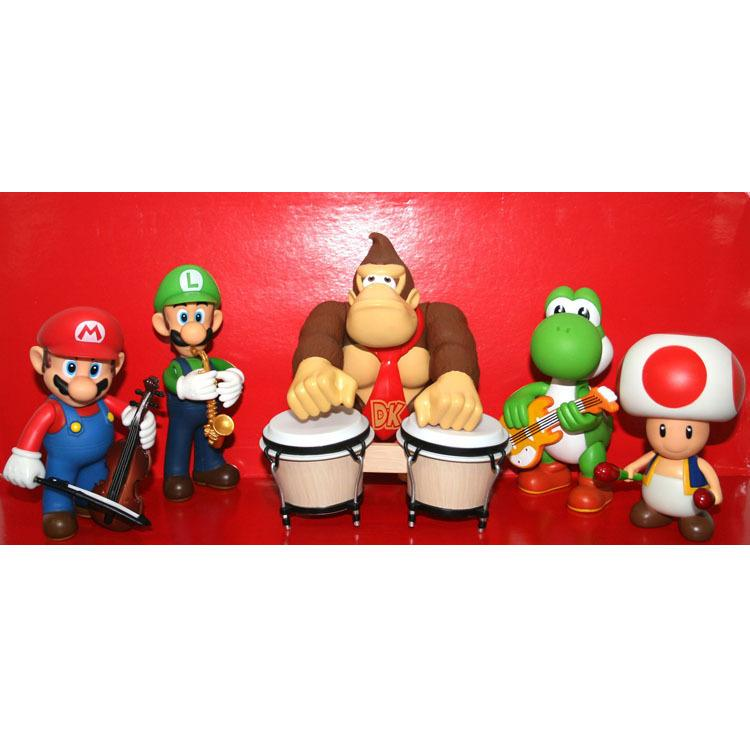 Band Game Toy : Super mario bros band figures toys doll set decoration pvc