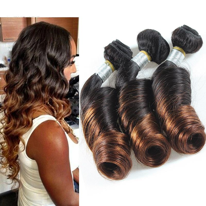 6a Peruvian Spiral Curl Weave Human Hair Ombre Peruvian Loose Wave Brown Virgin Hair Weft Two ...