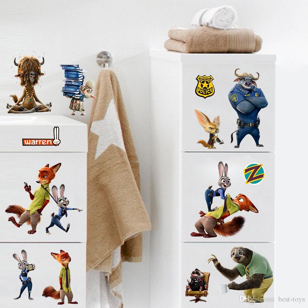 Movie Zootopia Wall Stickers 30 60cm 12 24 Inch Animal Zootopia Pvc Wall Decals Wall Stickers Home D Cor Judy Hopps Rabbit Nick Wilde Fox Best Wall Stickers