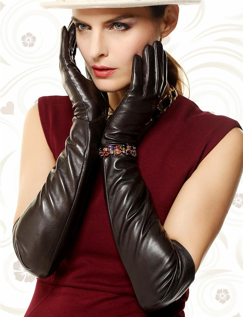 Leather fetish ladies gloves