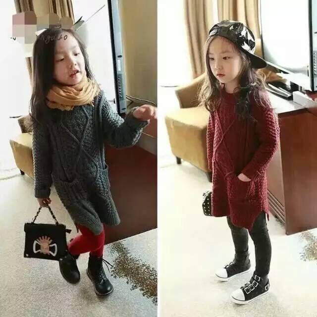 2016 Kids Girls Knit Sweater Dresses Baby Girl Maxi Crochet ...
