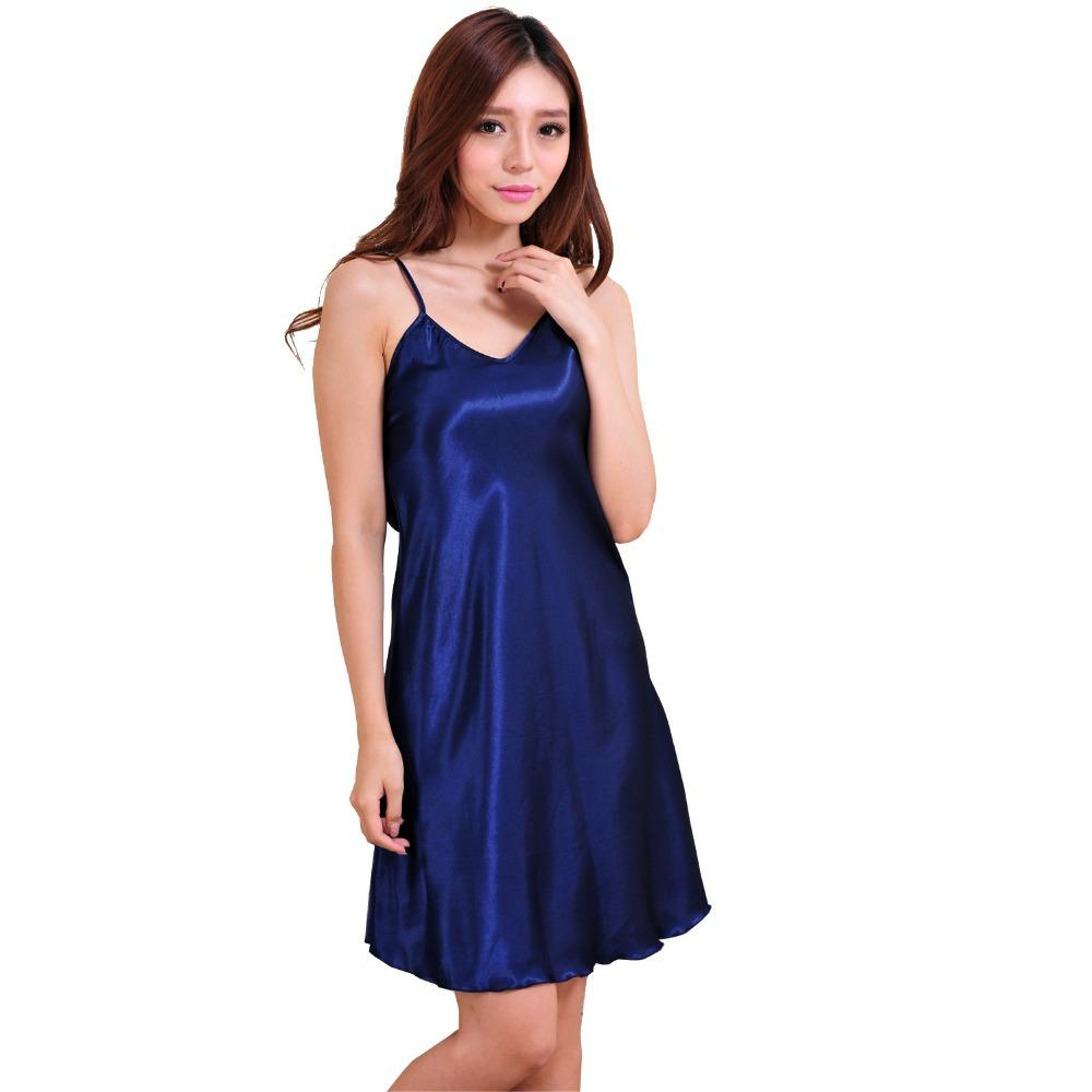 2017 Ladies Sexy Silk Satin Nightgown Sleeveless Nighties Above ...
