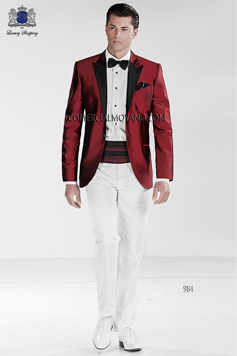 2015 Red And White Mens Tuxedo Wedding Suits Jacket Pants Tie ...