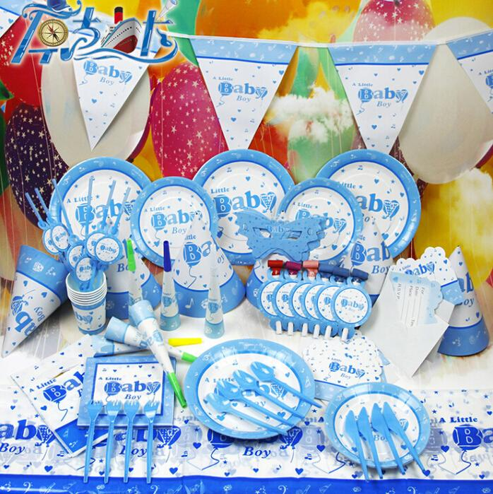 Cartoon design cute baby blue theme kids birthday and baby for Baby full moon party decoration