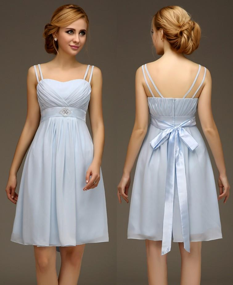 Summer Casual Chiffon Short Light Blue Bridesmaids Dresses With ...