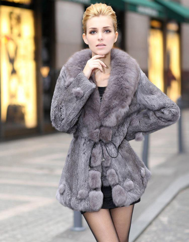 Hot Sale Women Fur Coats Winter Handmade Rabbit Fur Coats With Fox Fur Collar Winter Fur Long Jackets Female YC307 Online with $661.26/Piece on Ts09's Store