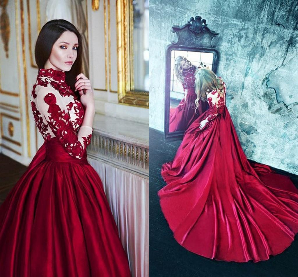 Discount 2016 Gothic Wedding Dresses Wine Red High Neck