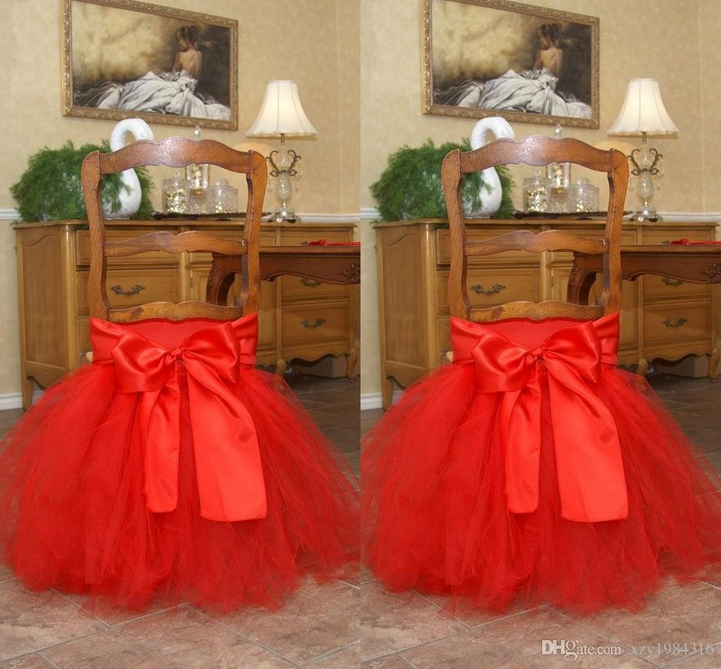 Red Tutu Tulle Chair Sashes Satin Bow Madetoorder Chair Skirt – Tulle Chair Bows